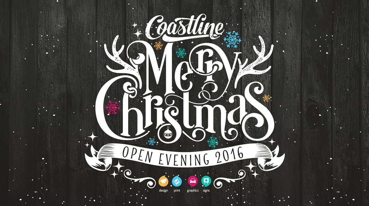 Christmas Graphic Design.2016 Christmas Open Evening Coastline Graphics