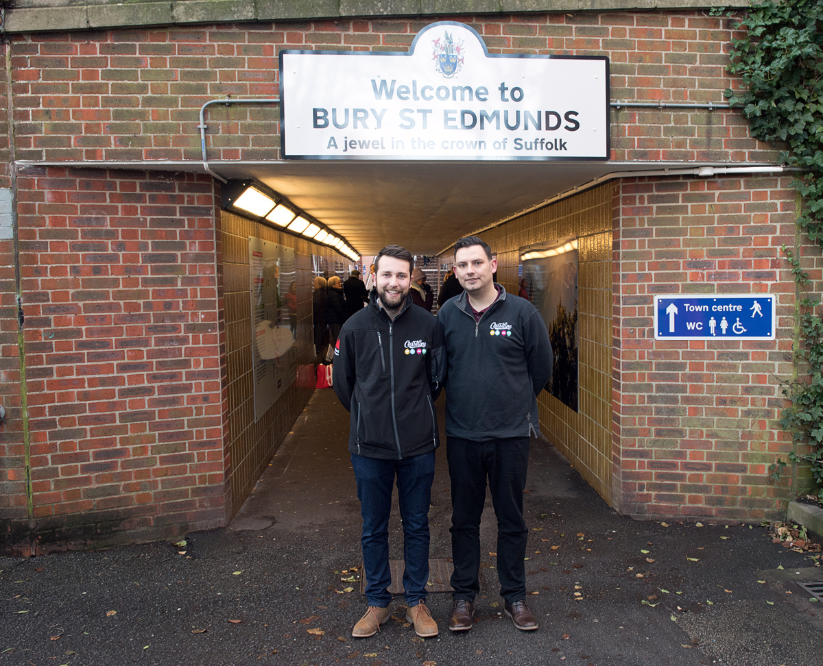 Alfie Pitt (Production Manager) and Vince Canning (Graphic Designer) at the new look underpass in Bury St Edmunds (Picture: Gregg Brown)